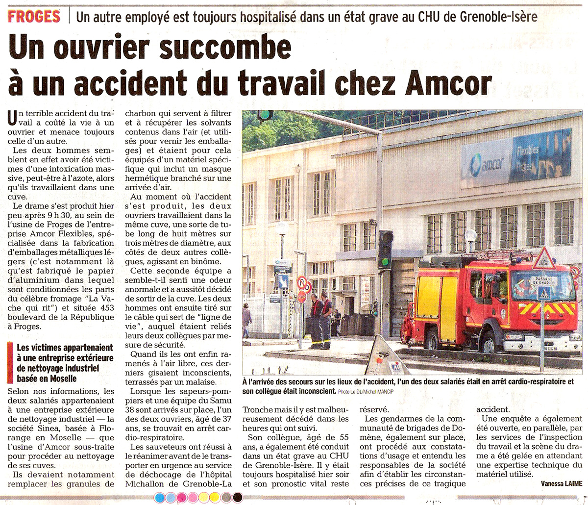 Accident Amcor Froges